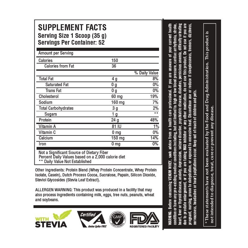 venum whey chocolate 4lbs facts