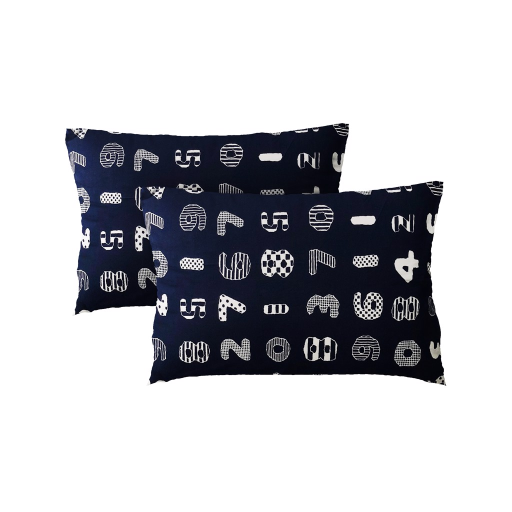 Pillow case 010 Numbers on navy blue (2pcs)