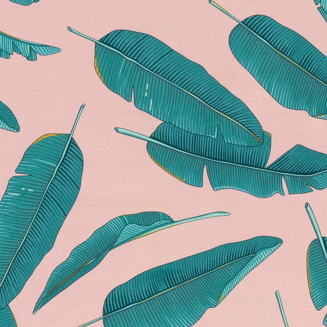Pillow case 128 Banana leaves on pink
