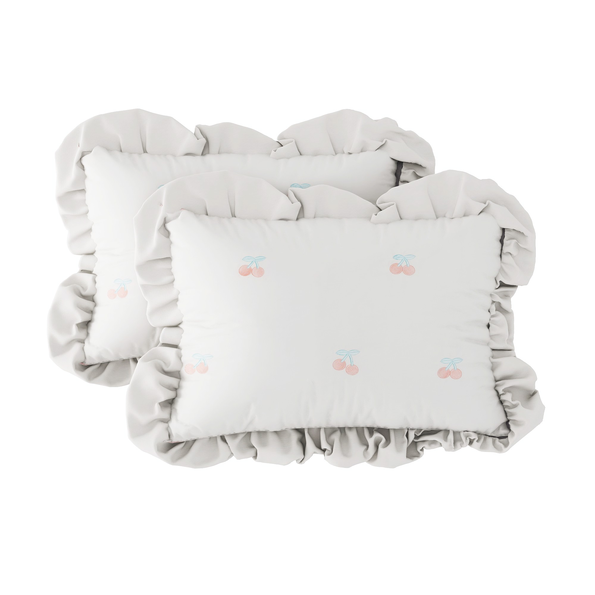 Pillow case 223 Cherries Embroidery - White