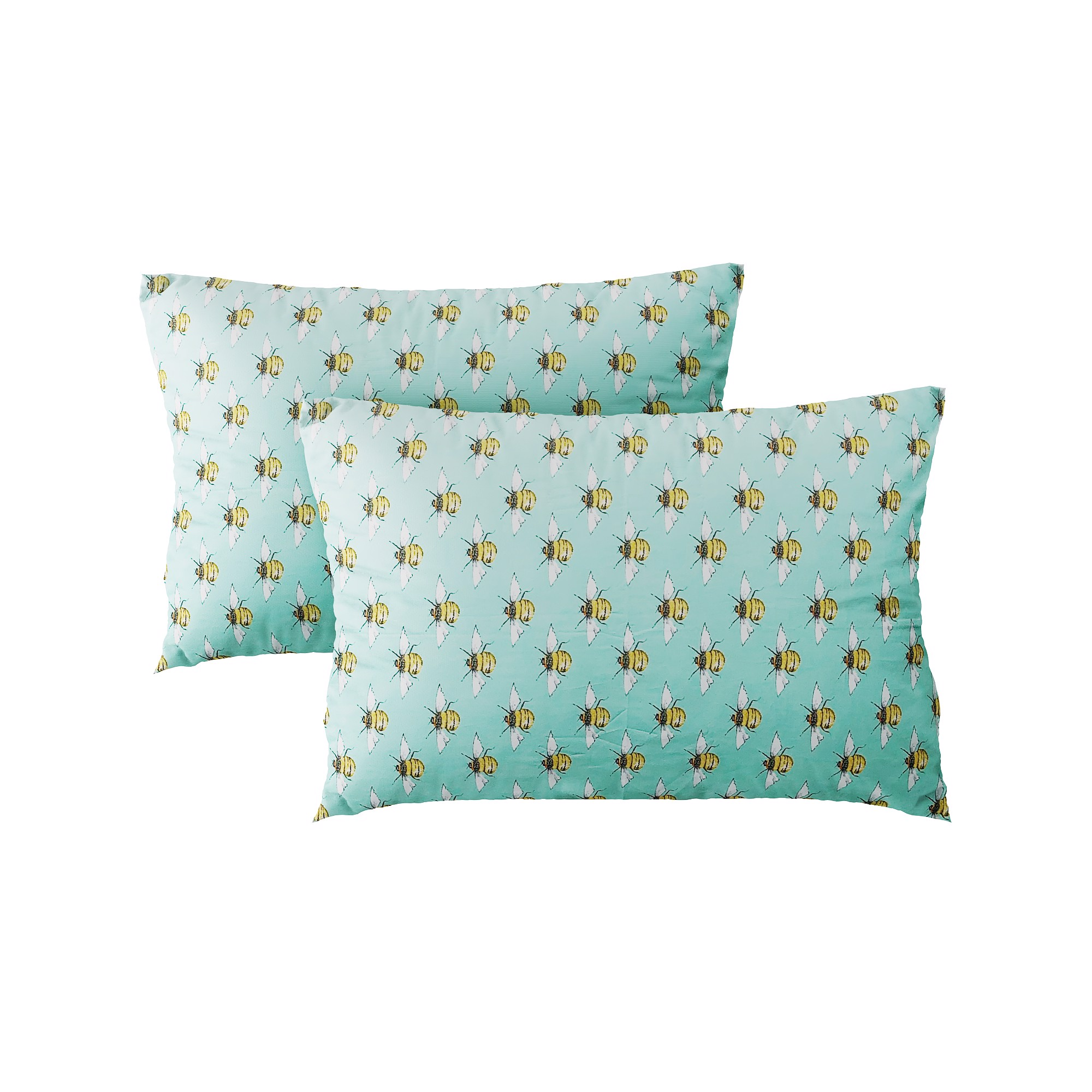 Pillow case 350 Yellow bee on mint (2pcs)