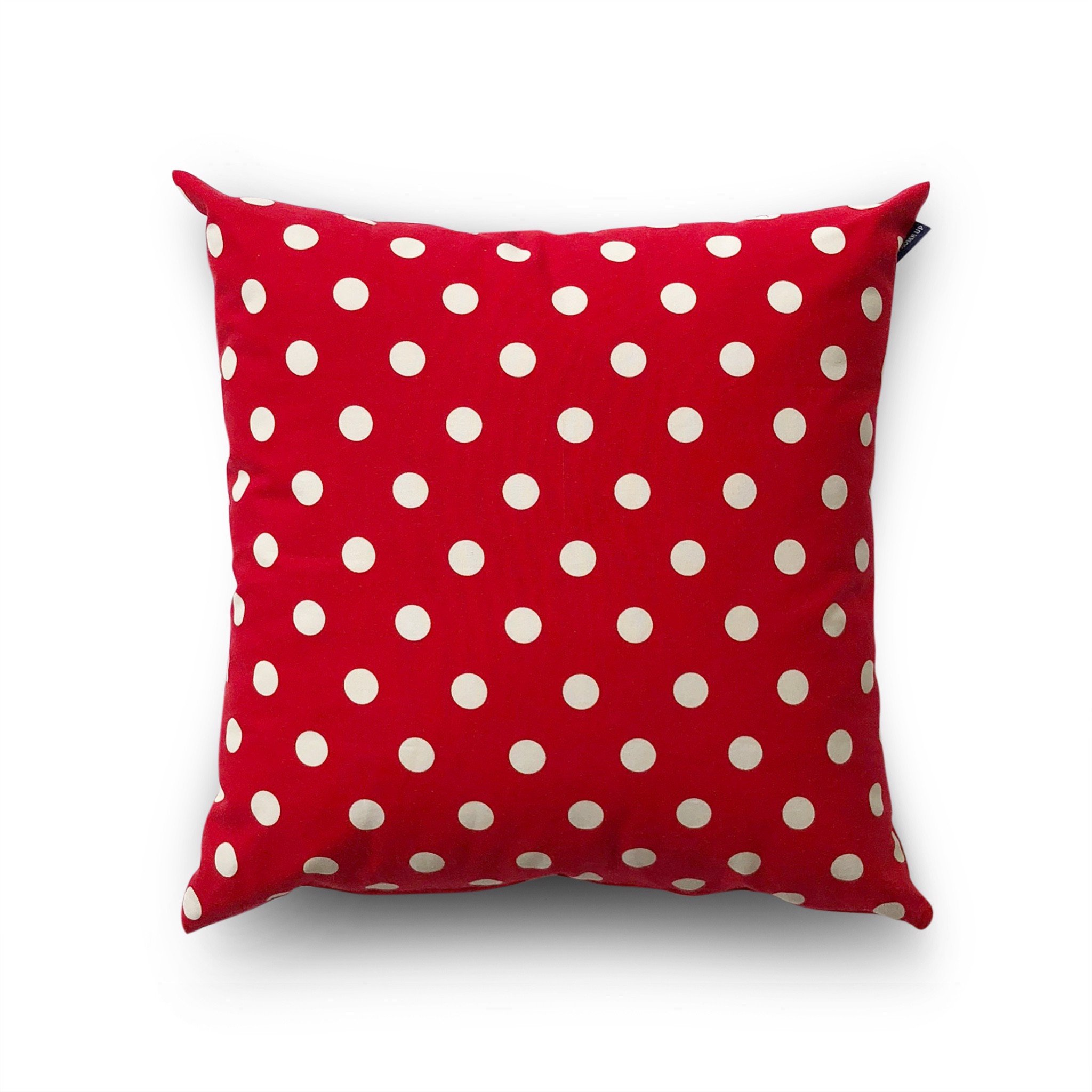 Cushion cover 46 White polka dot on red