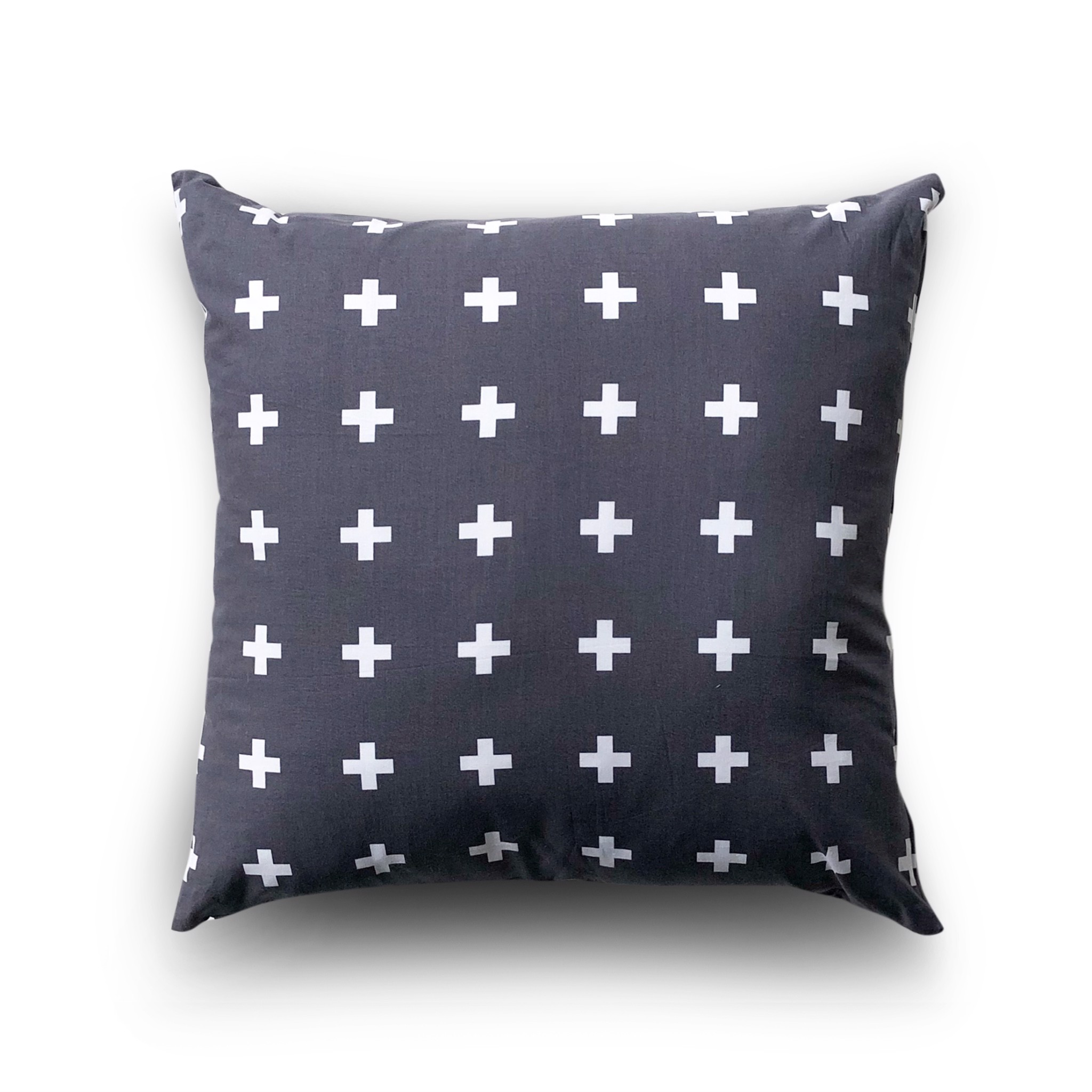 Cushion cover 66 White plus on dark grey