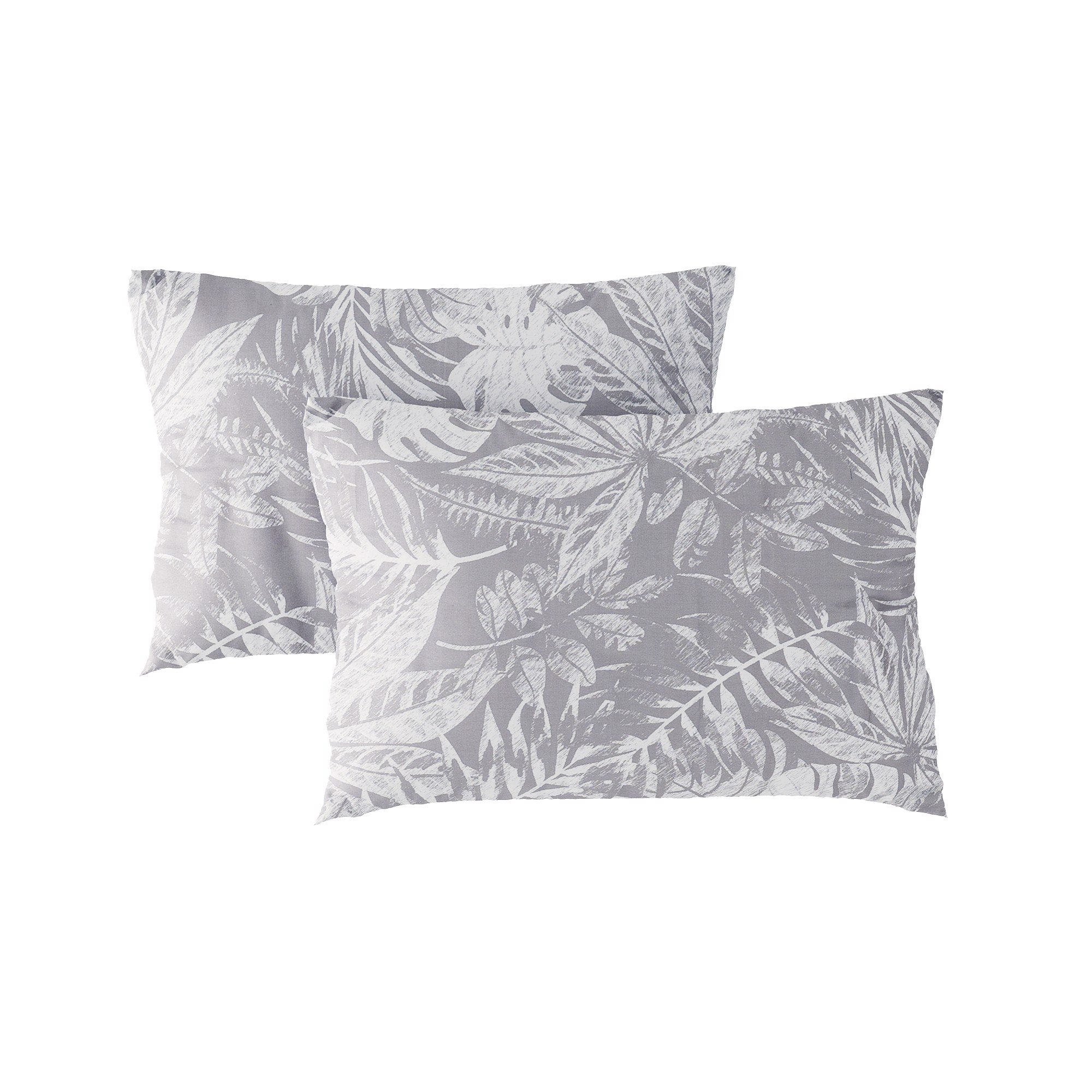 Pillow case 178 White leaves on grey