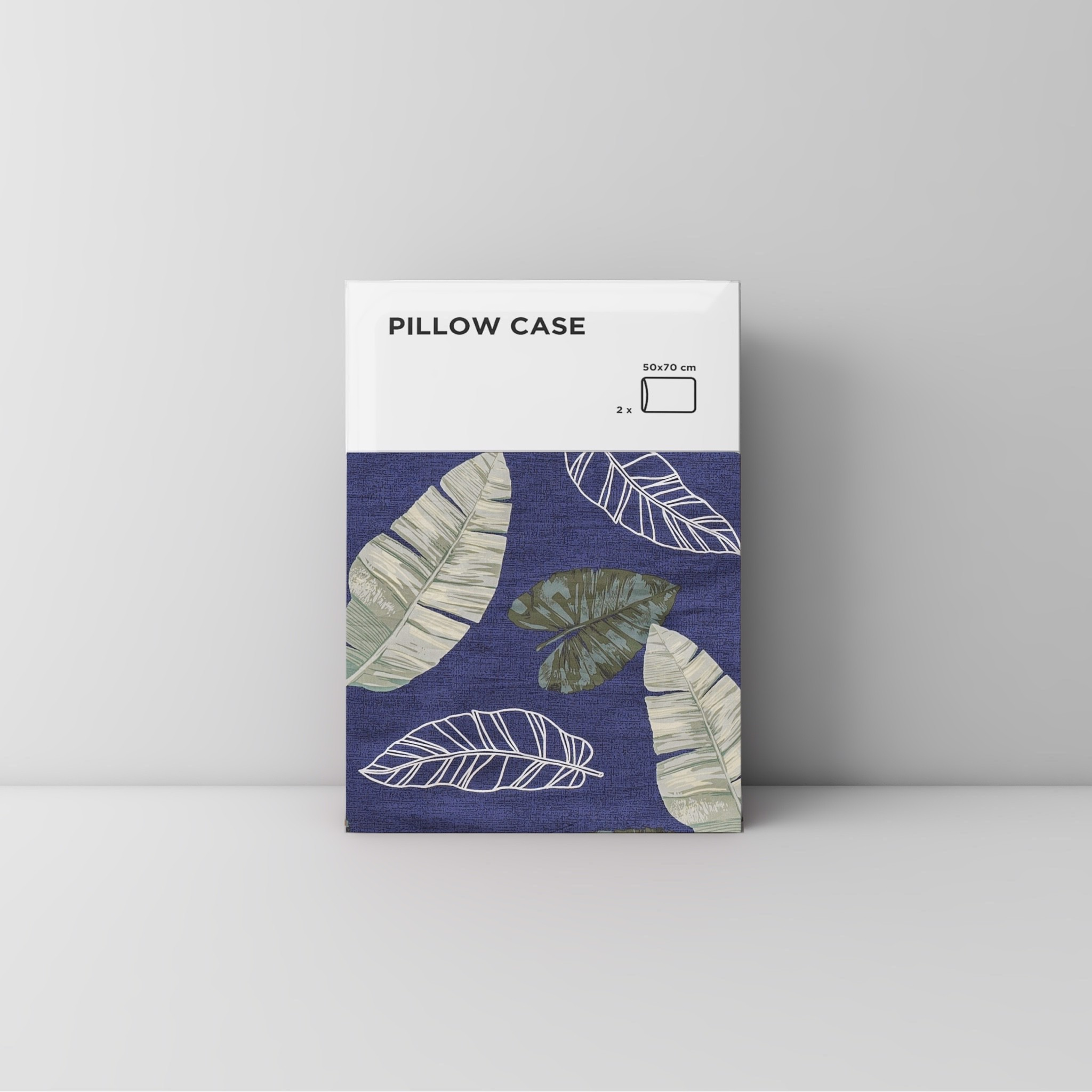 Pillow case 104 Leaf on navy blue