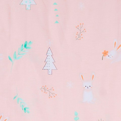 Pillow case 170 White rabbit on pink