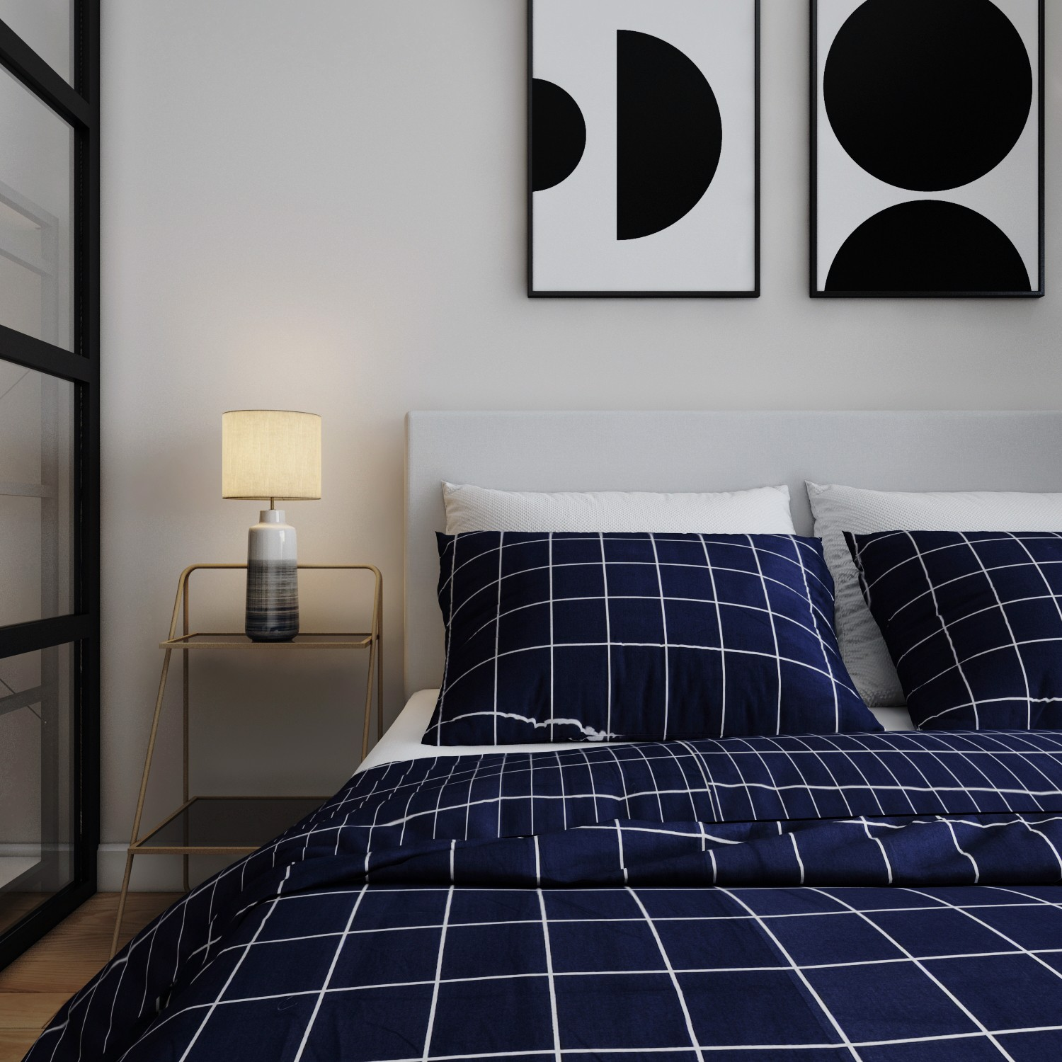 Pillow case 237 White grid on navy