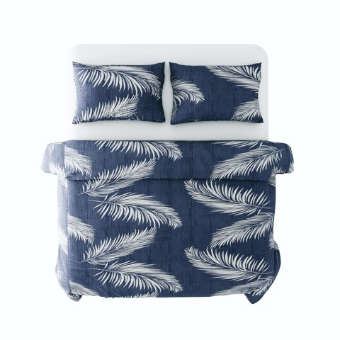 Best price 187 White palm leaves on navy