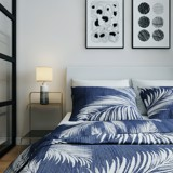 Pillow case 238 White palm leaves on navy