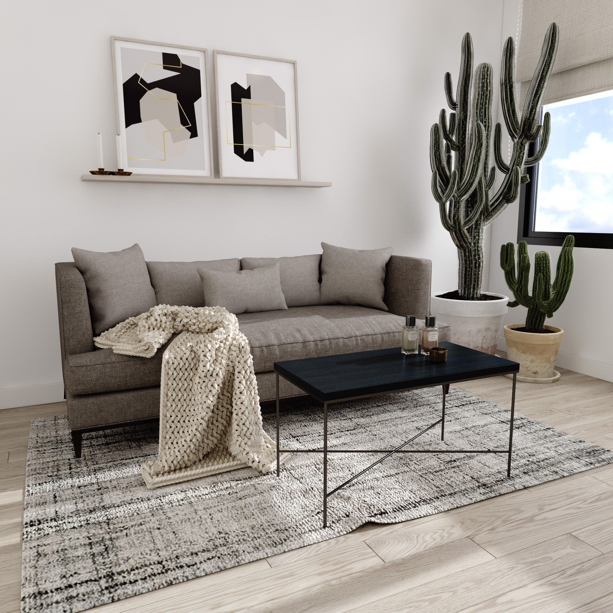 Bàn sofa X - Dark grey wood