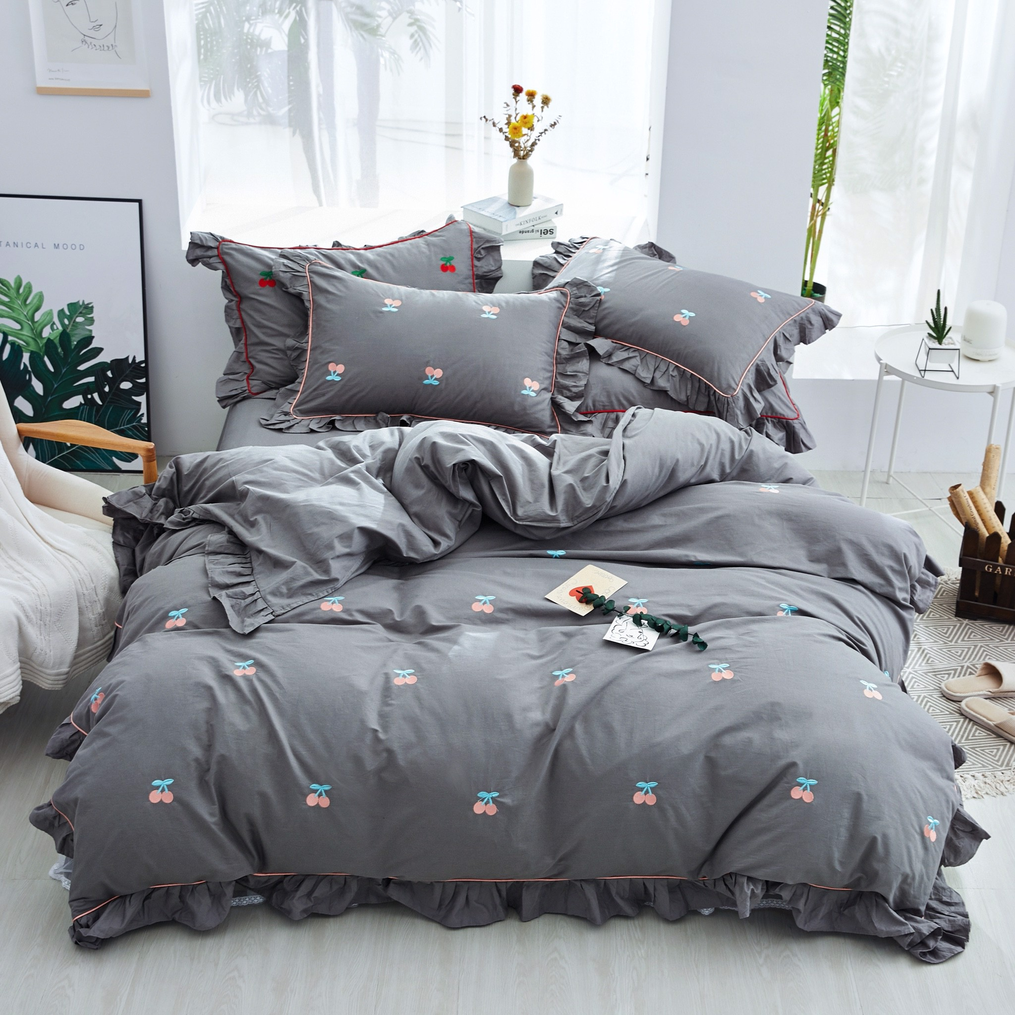 Best price 173 Cherries Embroidery - Grey