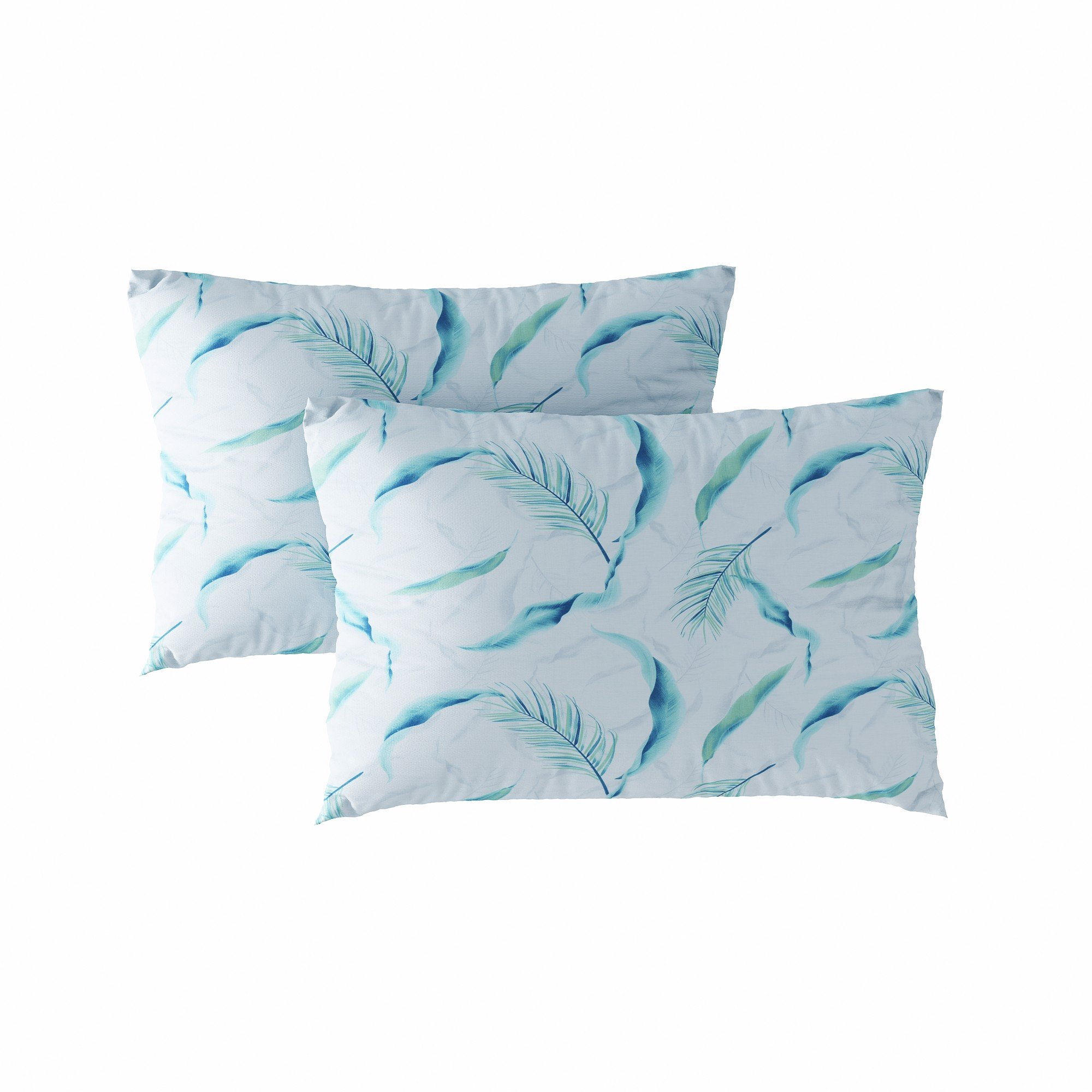 Pillow case 129 Blue palm leaves
