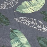Pillow case 145 Green leaves on dark grey