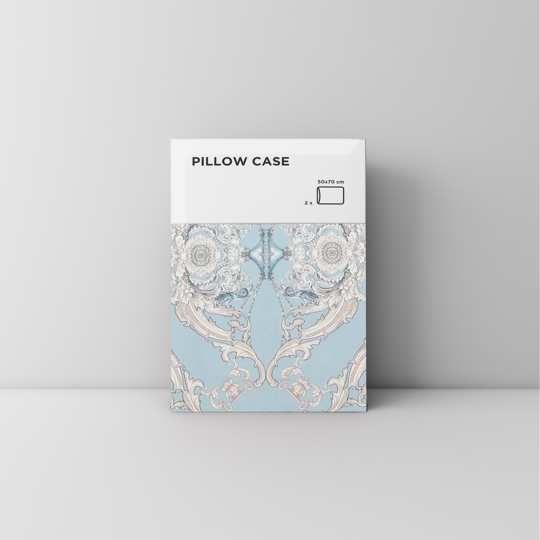 Pillow case 210 Classic pattern on light blue
