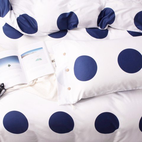 Pillow case 214 Navy poka dot