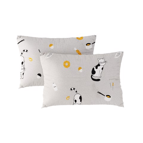 Pillow case 228 Cats on grey