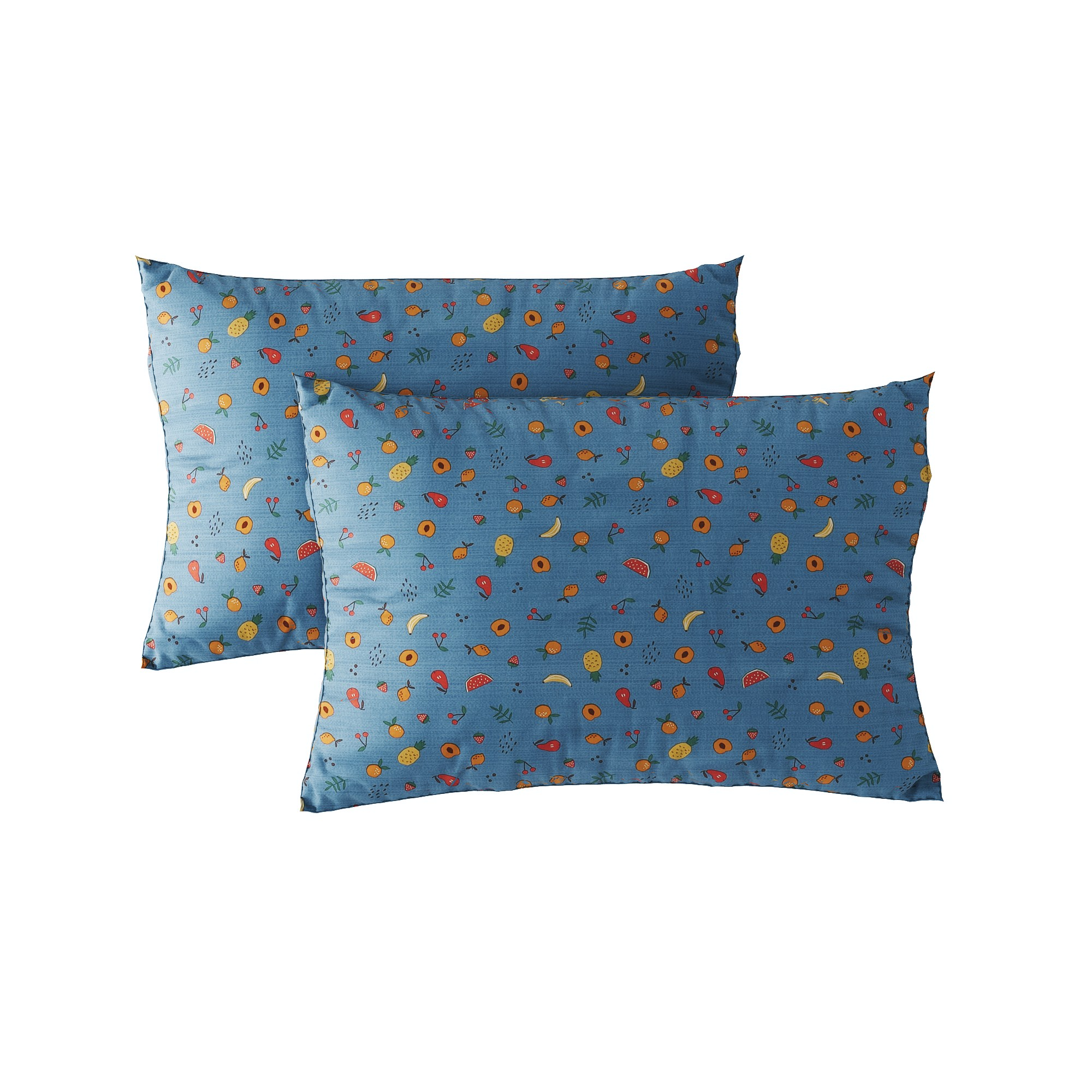 Pillow case 240 Tropical fruits on blue