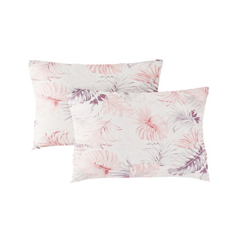 Pillow case 264 Pink grey leaves