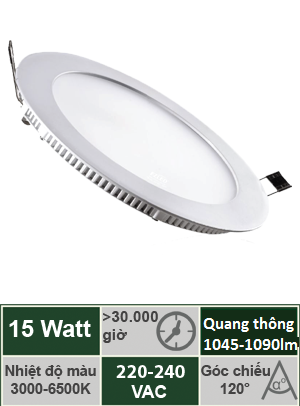 Đèn Led Panel âm trần tròn 15W Vinaled PL-AS15/PL-AW15
