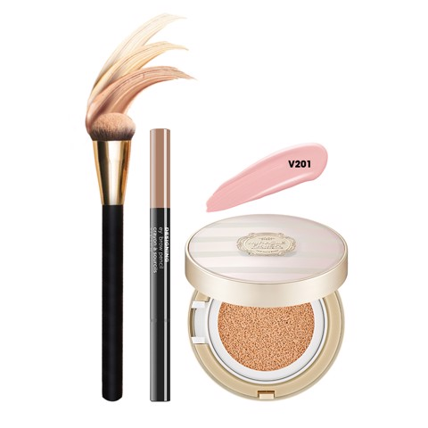 Bộ Trang Điểm Nền Đa Năng THE FACE SHOP (CUSHION, EYEBROW PENCIL,CUSHION BRUSH)