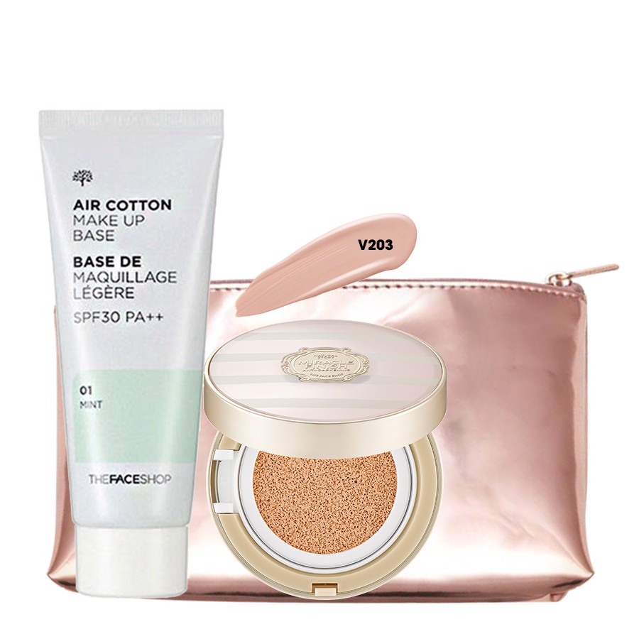 Bộ Trang Điểm Nền Đa Năng THE FACE SHOP (CUSHION, AIR COTTON MAKE UP BASE,METAL CUSHION POUCH)