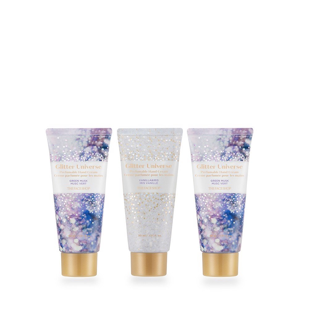 Bộ Kem Dưỡng Da Tay THEFACESHOP GLITTER UNIVERSE HOLIDAY PERFUMABLE HAND CREAM TRIO 1