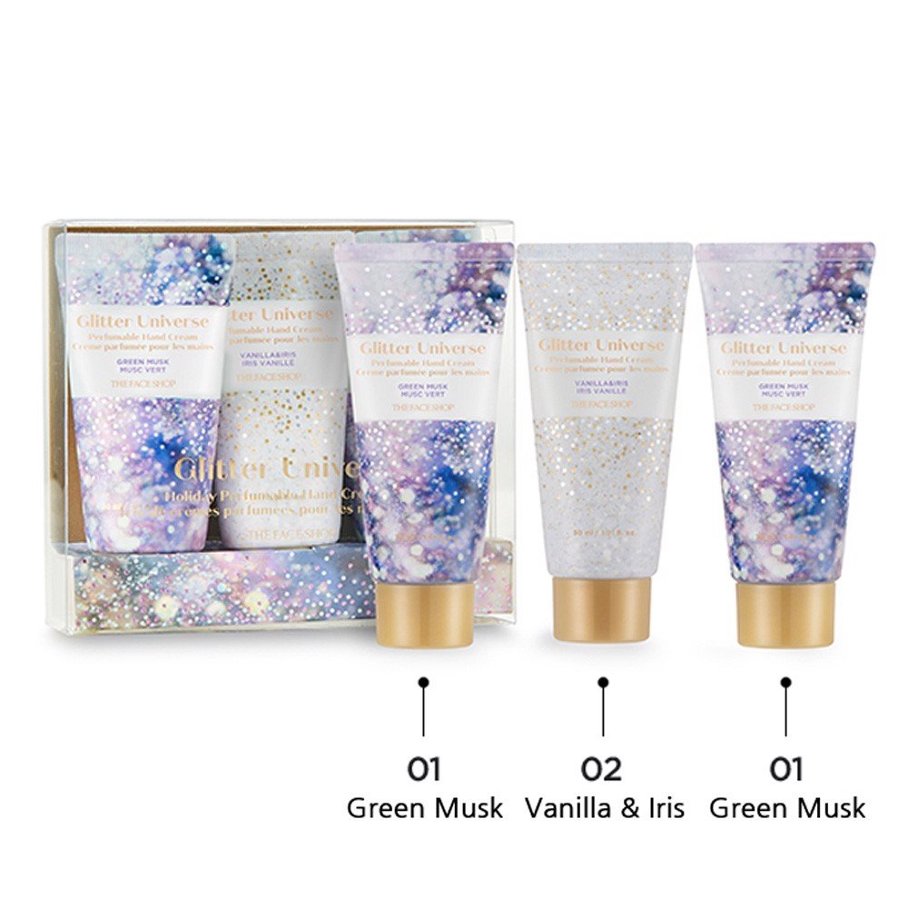 Bộ Kem Dưỡng Da Tay THEFACESHOP GLITTER UNIVERSE HOLIDAY PERFUMABLE HAND CREAM TRIO 2