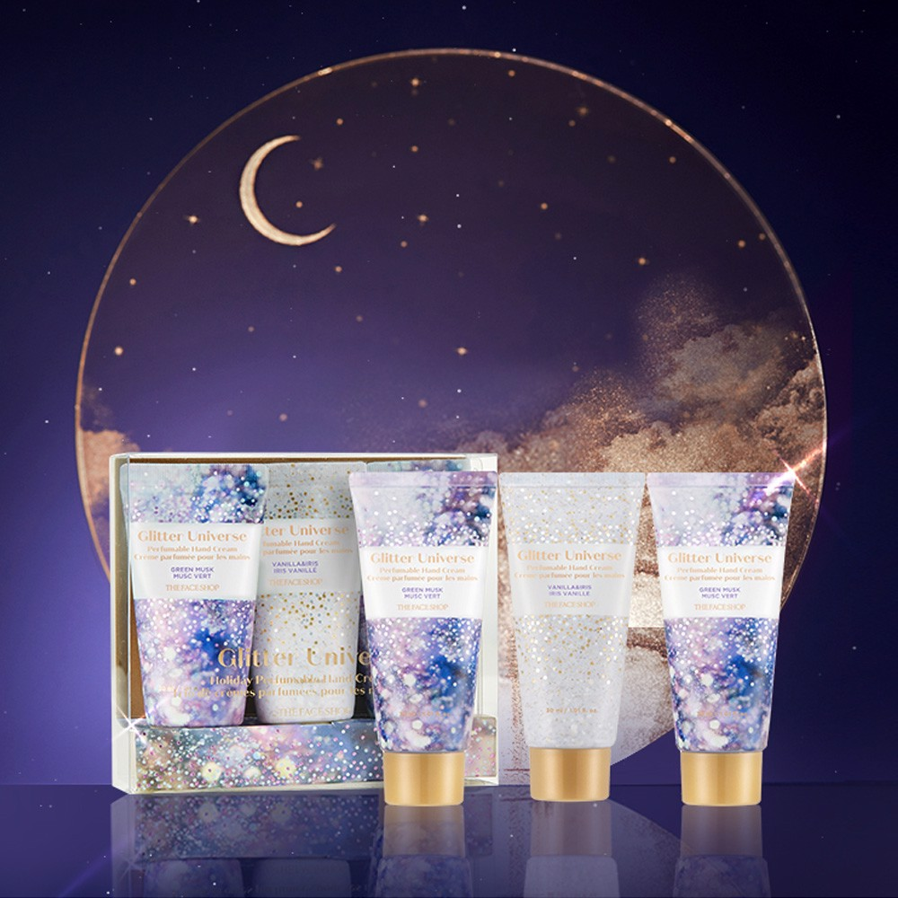 Bộ Kem Dưỡng Da Tay THEFACESHOP GLITTER UNIVERSE HOLIDAY PERFUMABLE HAND CREAM TRIO 3