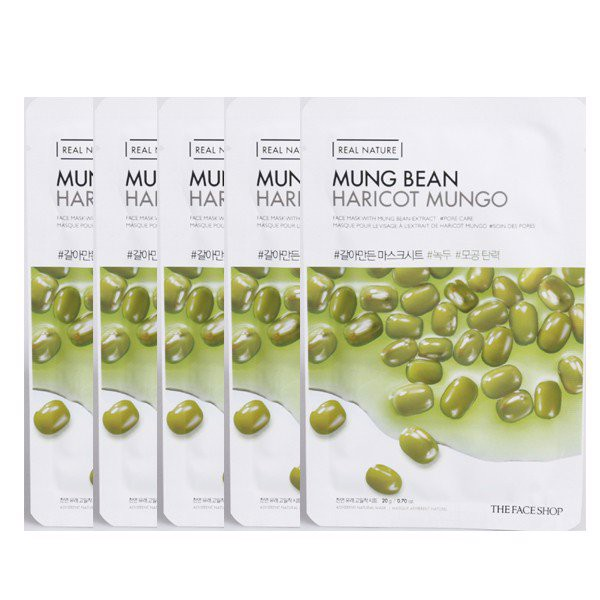 Mặt Nạ Thanh Lọc Da THEFACESHOP REAL NATURE MUNG BEAN FACE MASK (SET 5 PCS)