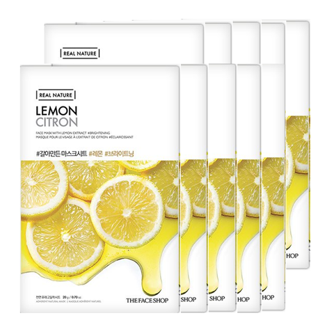 Bộ Mặt Nạ Làm Sáng Da THE FACE SHOP REAL NATURE LEMON (SET 10 PCS)