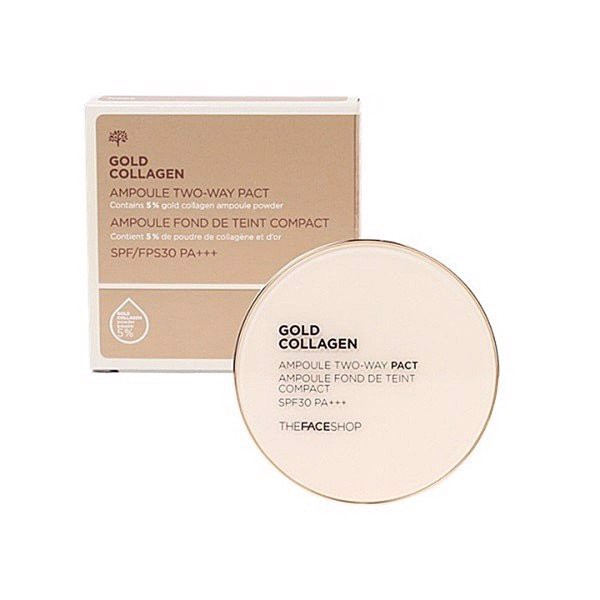 Phấn Nền Che Khuyết Điểm TFS GOLD COLLAGEN AMPOULE TWO-WAY PACT SPF30 PA+++ N203