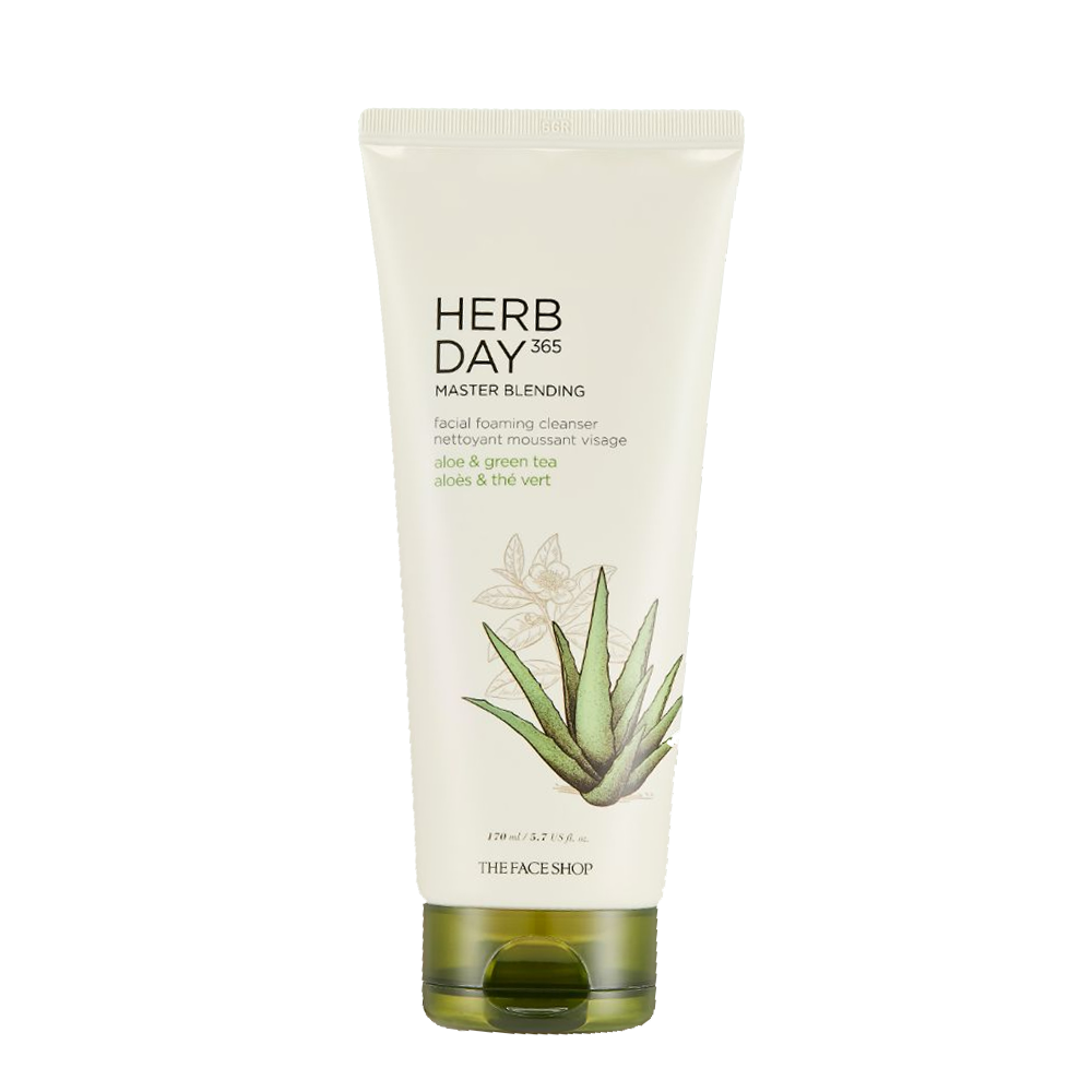 Sữa Rửa Mặt Tạo Bọt HERB DAY 365 MASTER BLENDING FACIAL FOAMING CLEANSER ALOE & GREEN TEA