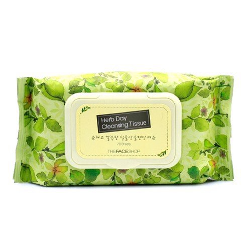 Khăn giấy tẩy trang The Face Shop Herb Day Cleansing Tissue (70pcs)