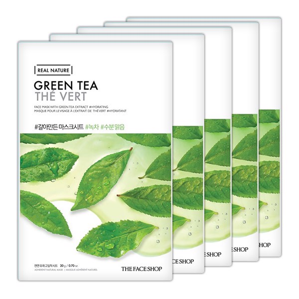 Mặt Nạ Giấy Thanh Lọc Da THEFACESHOP REAL NATURE GREEN TEA FACE MASK (SET 5PCS)