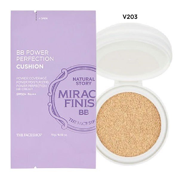 (REFILL) Phấn Nước Che Khuyết Điểm MIRACLE FINISH BB POWER PERFECTION CUSHION SPF50+ PA+++ V203