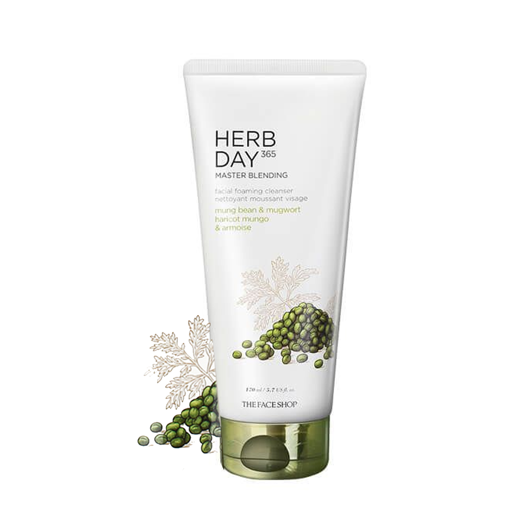 Sữa Rửa Mặt HERB DAY 365 MASTER BLENDING FACIAL FOAMING CLEANSER MUNG BEAN & MUGWORT 170ml