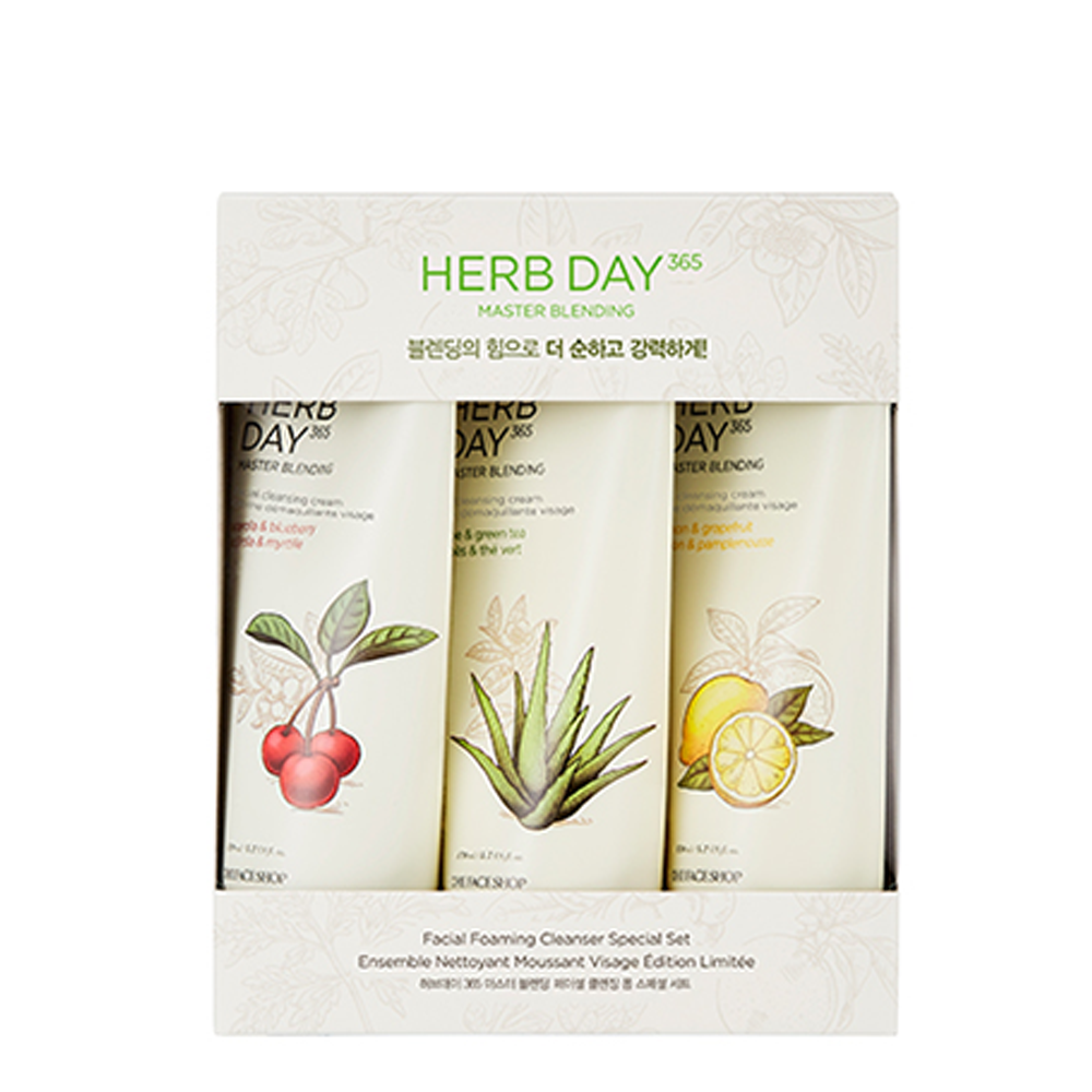Bộ Sữa Rửa Mặt HERB DAY 365 MASTER BLENDING FACIAL FOAMING CLEANSER SPECIAL SET (3pc)