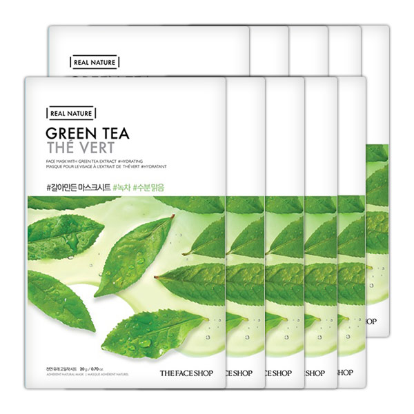 Mặt Nạ Giấy Thanh Lọc Da THEFACESHOP REAL NATURE GREEN TEA FACE MASK (SET 10PCS)