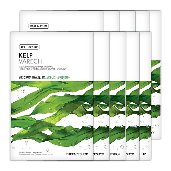 Mặt Nạ Giấy Thanh Lọc Da THEFACESHOP REAL NATURE KELP FACE MASK (SET 10PCS)