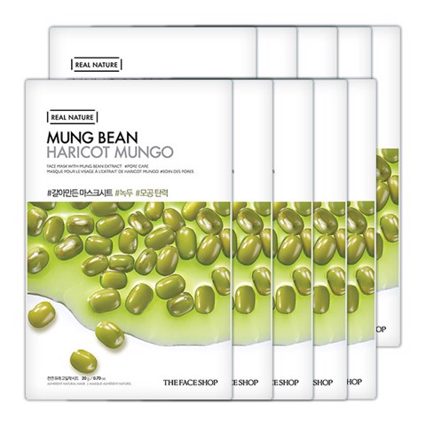 Mặt Nạ THEFACESHOP REAL NATURE MUNG BEAN FACE MASK (10 sheets)