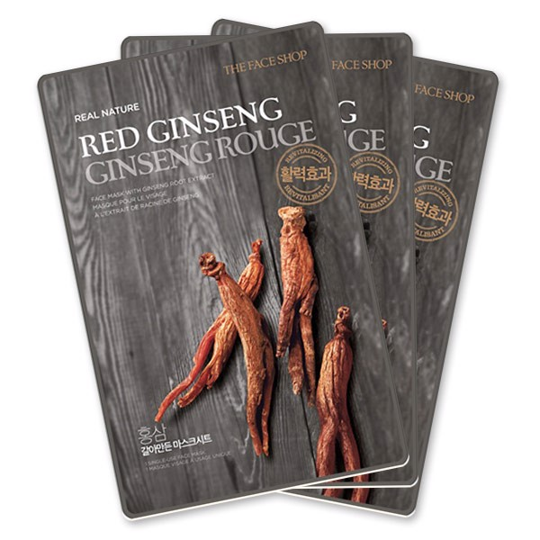 Mặt Nạ Giấy Tái Tạo Da THEFACESHOP REAL NATURE RED GINSENG FACE MASK(SET 3PCS)