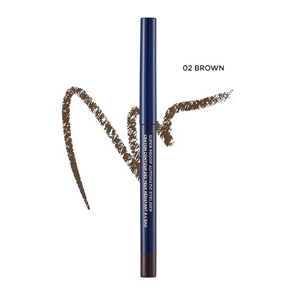 Viền mắt THEFACESHOP SUPER PROOF AUTOMATIC EYELINER 02 BROWN