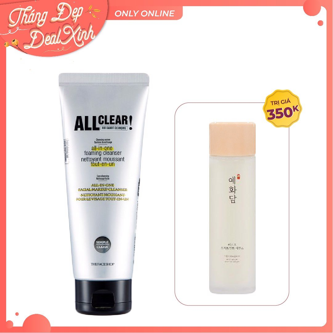 Combo Tinh Chất & Sữa Rửa Mặt (ALL CLEAR ALL IN-ONE FOAMING CLEANSER + YEHWADAM FIRST SERUM)
