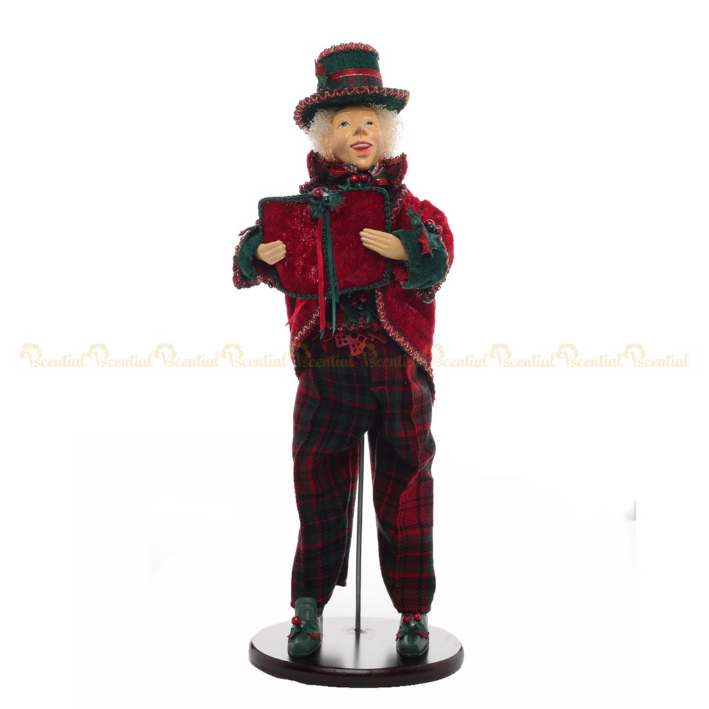 Christmas Tradition Man Caroler W/Stand