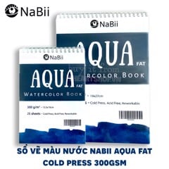 Sổ vẽ màu nước NABII AQUA FAT - NABII AQUA FAT Watercolor Book (COLD PRESS 300gsm)