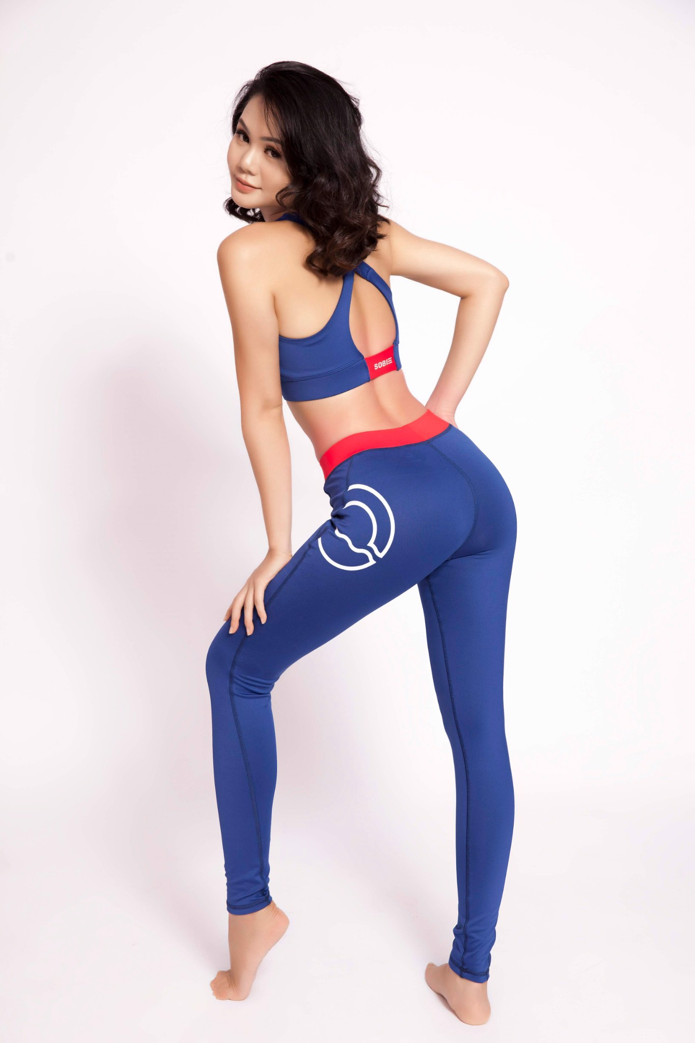 SB Sports Legging Basic Violet Res Logo Printed