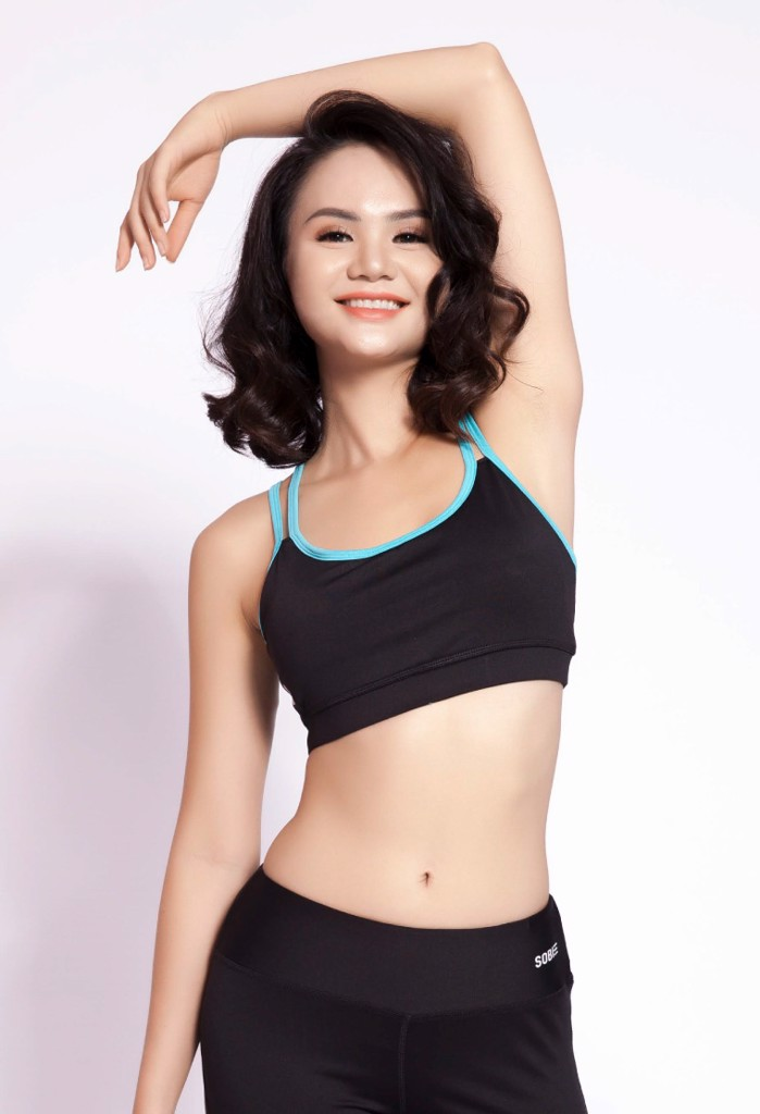 SB Sports Bra Top Black Mint Straps