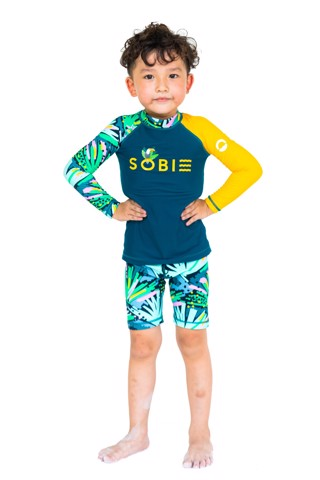 Silk Palm Green Kid Rashguard Set