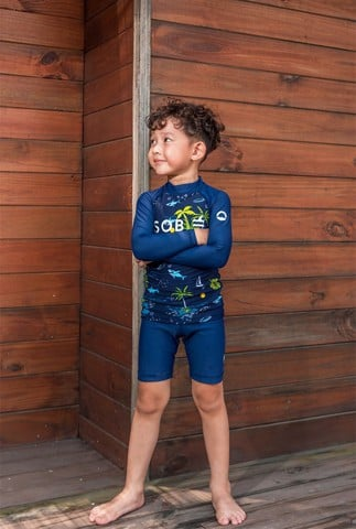 Shark Navy Kid Rashguard Set