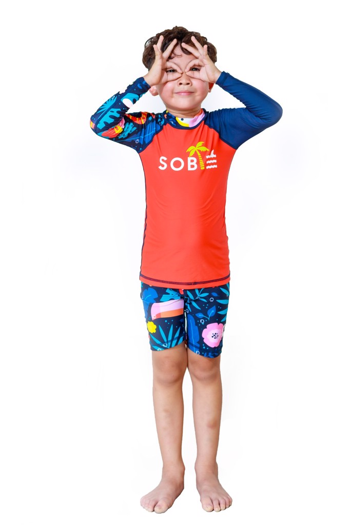 Foli Orange Black Kid Rashguard Set
